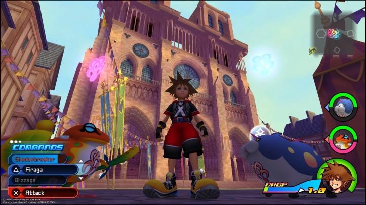 Screenshot from Dream Drop Distance showing Sora stood in front of Notre-Dame de Paris