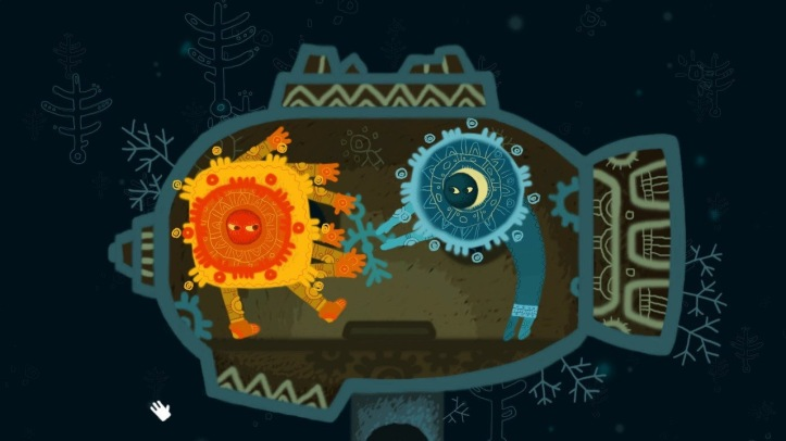 Screenshot from One Eyed Kutkh. A cartoon sun is fighting with the moon over a sculpture shaped like a man. They are inside a spaceship.