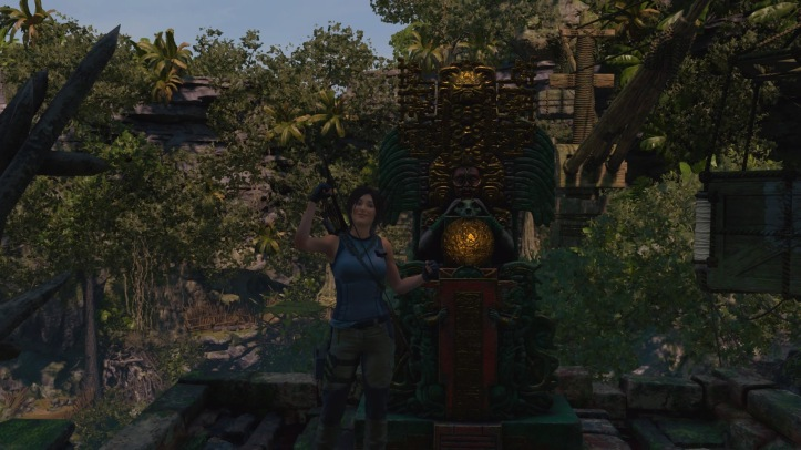 Screenshot, Lara poses in front of the shrine in one of the challenge tombs