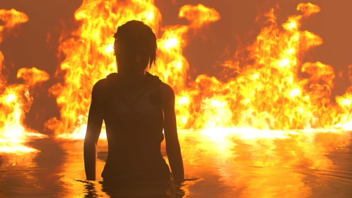 Lara wades through water at night. She is silhouetted against flames that rage behind her