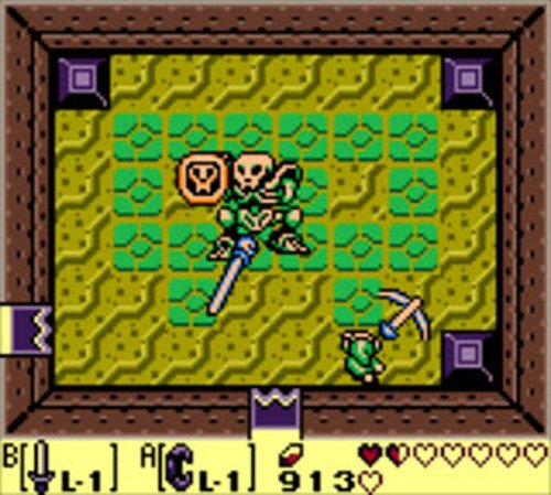 Screenshot from Link's Awakening, Link is in a dungeon fighting against a skeleton mini boss