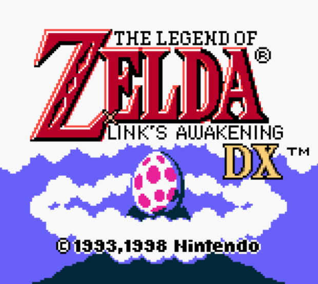 Screenshot of the title screen from The Legend of Zelda Link's Awakening DX on Gameboy and Gameboy Color