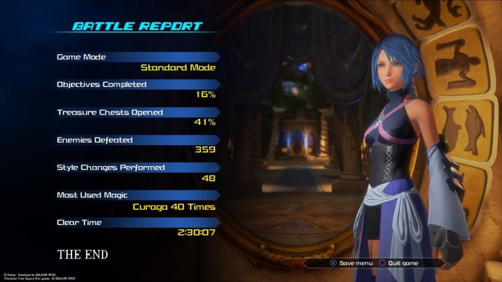 Screenshot from Kingdom Hearts 0.2 Birth by Sleep -A fragmentary passage- showing the battle report upon completion of the game