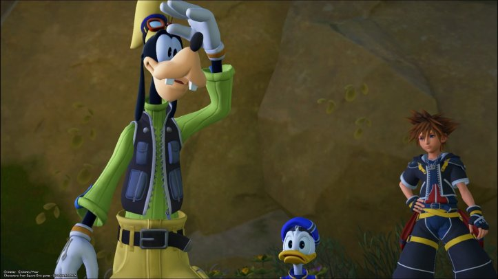 Screenshot from Kingdom Hearts 3, showing Goofy, Donald Duck and Sora