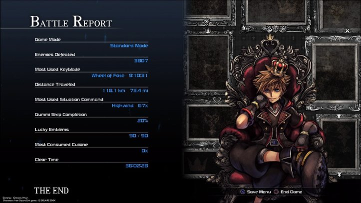 Screenshot of the Battle Report displayed after completing Kingdom Hearts 3