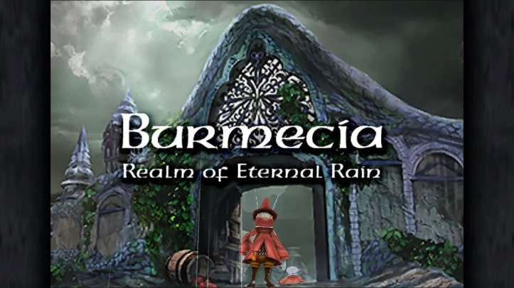 Screenshot from Final Fantasy IX showing Freya as she enters Burmecia, the realm of eternal rain