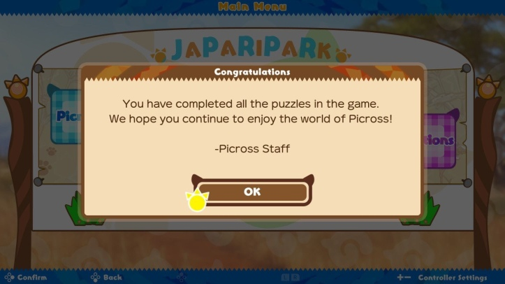 Screenshot from Kemono Friends Picross showing that all puzzles have been completed