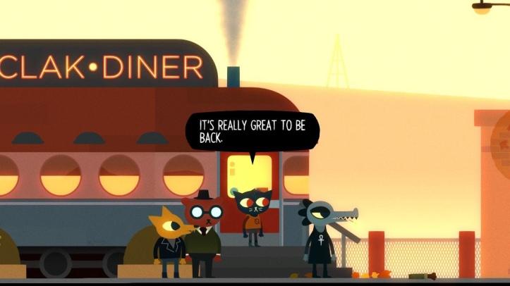 "Screenshot from Night in the Woods. Mae is saying, ""It's really great to be back""."