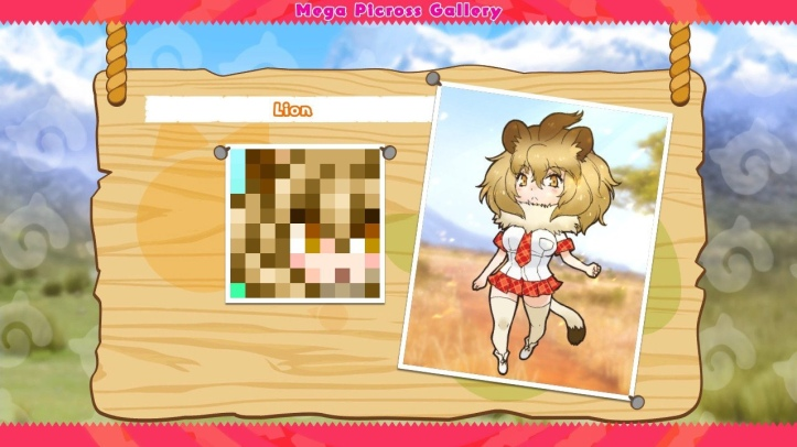 Screenshot from Kemono Friends Picross, showing the puzzle solution and the Kemono Friends character it represents.