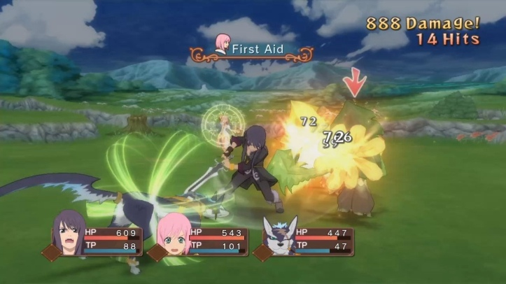 Screenshot from Tales of Vesperia: Definitive Edition. The shot is taken during battle, showing Yuri, Estelle and Repede fighting enemies