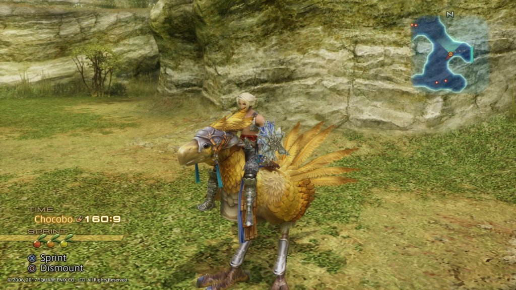Screenshot from Final Fantasy XII. Vaan is riding a chocobo
