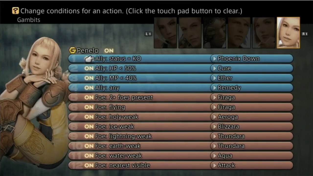 Screenshot of the gambits setup screen in Final Fantasy XII: the Zodiac Age on PS4