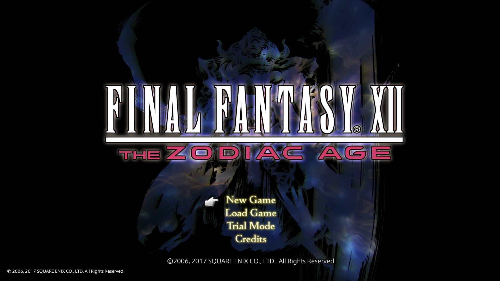 Screenshot of the start screen for Final Fantasy XII: the Zodiac Age on PS4