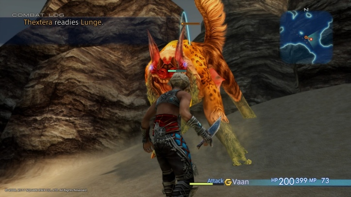 Screenshot from Final Fantasy XII: the Zodiac Age. Vaan is fighting against a Thextera.